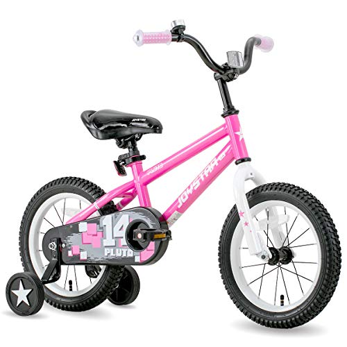 JOYSTAR 14 Inch Pluto Kids Bike with Training Wheels for Ages 3 4 5 Year Old Boys Girls Toddler Children BMX Bicycle Pink