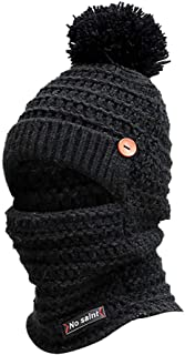 Sunshinehomely Thick, Soft & Warm Knit Hat Winter Earmuffs Knit Hat Scarf Hairball Warm Cap for Women & Men