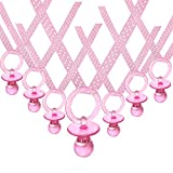 JC HUMMINGBIRD 24 Pieces Pink Pacifiers Organza Necklace for Party Favor, Pink,