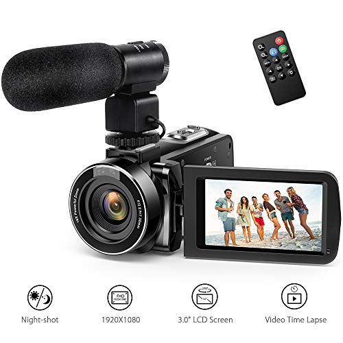 Andoer Caméscope Numerique 1080P Vision Nocturne Infrarouge Full HD 24FPS, 48MP Appareil Photo Caméra Vidéo Numérique Ecran IPS 3.0 Pouces 16X Zoom (1080P+Microphone)