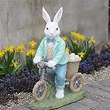 Decoración del Hogar Escultura Maceta Pastoral Conejo lindo andar en bicicleta resina adornos de jardín al aire libre Balcón Figurines Crafts Courtyard Villa Accesorios Decoración ( Color : Style1 )