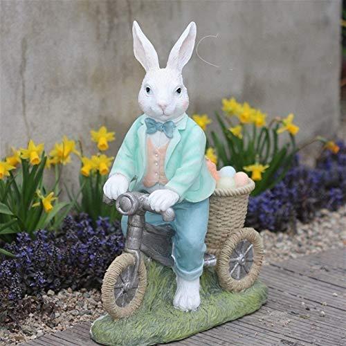Statue Planter Urn Home Garden Decor Sculpture Pastoral Cute Rabbit Riding Bike Resin Ornaments Outdoor Garden Balcony Figurines Crafts Courtyard Villa Accessories Decoration (Color : Style1)