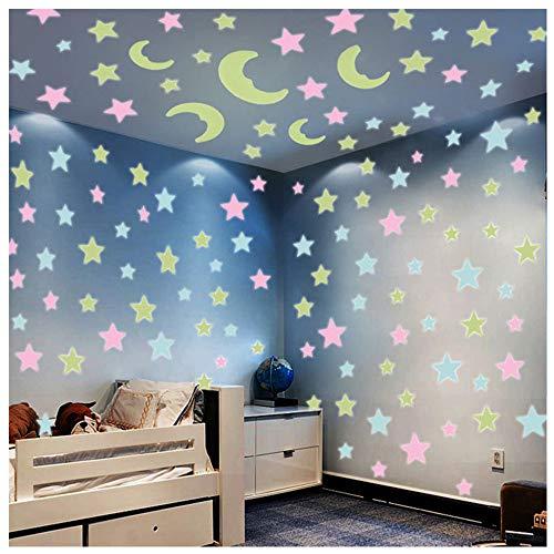 Leuchtsterne Selbstklebend Wandtattoo Aufkleber Leucht Wand Aufkleber für Kinderzimmer Sternenhimmel als Dunkeln Fluoreszierte Zimmerdeko (A)
