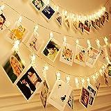 Kinder Raum Wand DECO LED Foto Clips Lichterkette perfekt für Hochzeit Überraschung Büro Feiern und DIY Aufhängen phtoes 20Clips 13Füße warm weiß