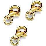 My-Bead 3 piezas mosquetóns 9mm plata de ley 925 oro de 24 quilates cierres para bisuteria de alta calidad