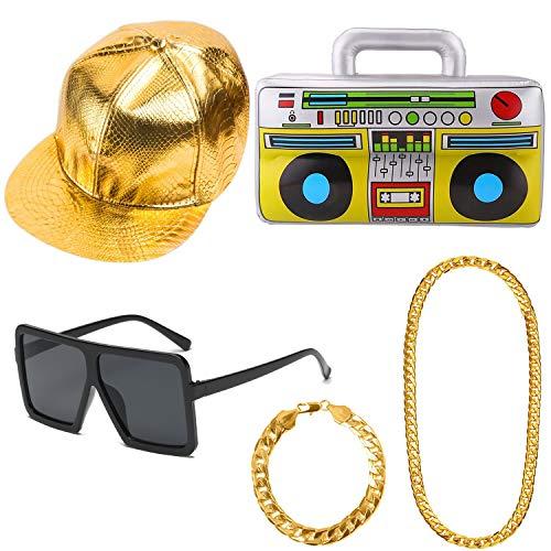 APERIL Hip Hop Kostüm Kit Hut Sonnenbrille Gold Kette Aufblasbare Boom Box 80s 90s Rapper Zubehör Party Supplies