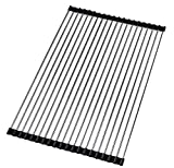 17.8' x 14.2' Wide Roll up Dish Drying Rack over the Sink Folding Dish Rack Portable Dish Drainers for Kitchen Sink Counter Roll-up Drying Rack RV Foldable Dish Drying Rack By Ahyuan (Black)