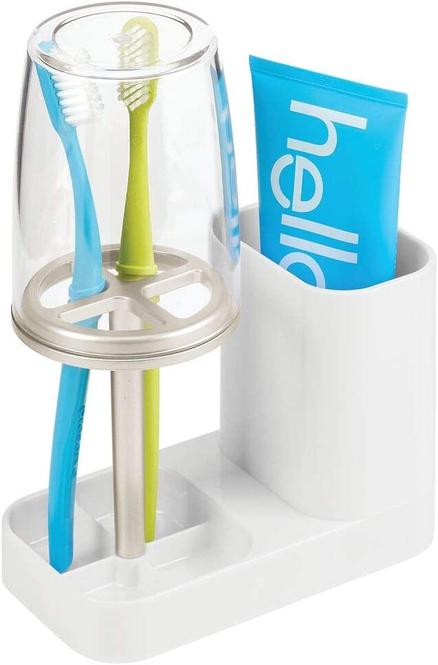 mDesign Modern Plastic Safety and trust Bathroom Countertop Popular standard Vanity Toothpaste T