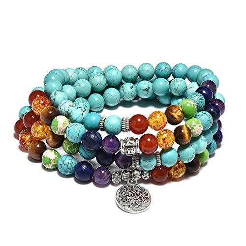 Cat Eye Jewels 8mm Turquoise Necklace 108 Rosary Mala Prayer Beads Bracelets Chakra Beaded...