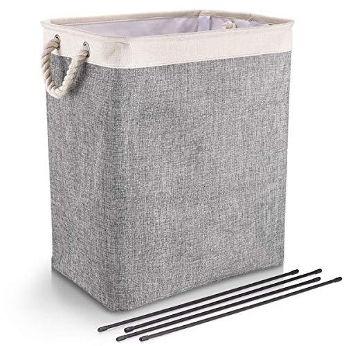 DYD Faltbarer Wäschekorb mit Griffen Leinen Großraumtrichter für Wäschekörbe Eingebautes Futter Haltbares Upgrade Faltbarer Wäschekorb für Spielzeug Kleidung Organisation (L-Grau)