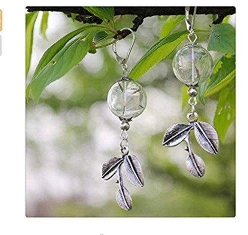 Paardebloem oorbellen, paardebloem zaad oorbellen, maak een wens, natuur oorbellen, glazen oorbellen