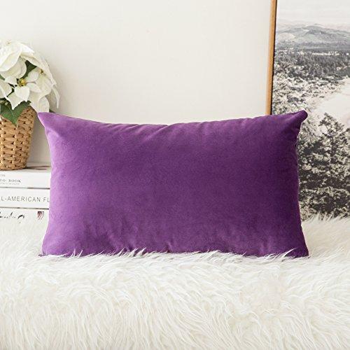 MIULEE Terciopelo Funda de Cojine Funda de Almohada del Sofá Throw Cojín Decoración Almohada Caso de la Cubierta Decorativo Almohadas para Sala de Estar 30x 50cm 12 x 20 Pulgadas 1 Pieza Púrpura