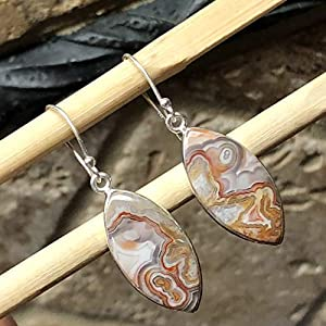 Natural Pink Mauve Laguna Agate 925 Solid Sterling Silver Marquise Earrings