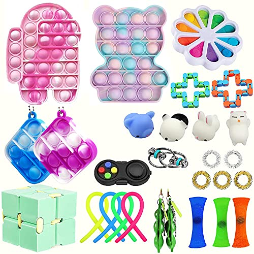 WEDSFC Fidget Pack- Fidget Toys Set, Sensory Toys for Autism Stress Reliever Anxiety Relief Toys, Toys for Kids Birthday Party Favors, School Classroom Rewards, Carnival Prizes, Goodie Bag Fillers,A