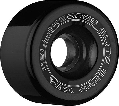Rollerbones Art Elite 103A Competition Roller Skate Wheels (Set of 8), Black, 62mm