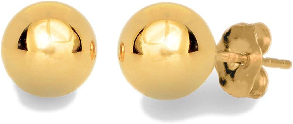 14k Real Yellow Gold Stud Ball Earrings, Gold Friction Backs - 5 mm