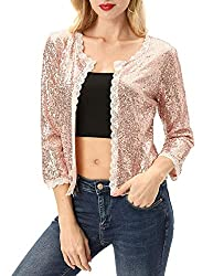 Rose Gold Sequin Jacket 3/4 Sleeve Open Front Bolero Shrug