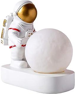 OSALADI Moon Night Light Astronaut Night Lamp Astronaut Figurine Decorative Bedside Lamp Resin Night Light Desktop Decorat...