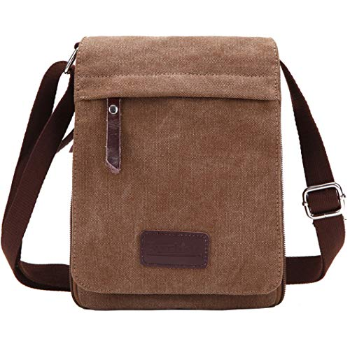 Berchirly Small Vintage Canvas Leather Messenger Cross Body Bag Pack Organizer For Men Travel Hiking Climbing