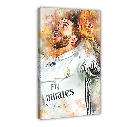 Cartel de lona de Sergio Ramos con un famoso jugador de fútbol del mundo para decoración de dormitorio, paisaje, oficina, habitación, marco de regalo, 50 x 75 cm