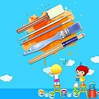 YOURPAI Kit pennelli in Spugna Kit pennelli per Pittura Kit di Strumenti per Bambini Apprendimento precoce Fai-da-Te Include pennelli in Schiuma, Set di pennelli per Motivi, ECC. Set da 56 Pezzi #7
