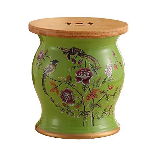 XIAOLVSHANGHANG HHCS Coiffeuse de Style américain, Tabouret en céramique de Bambou en Bois de Bois Tabouret de Porcelaine de Tabouret de Fleur d'oiseau (27 * 31cm) Chaises et tabourets (Couleur : D)