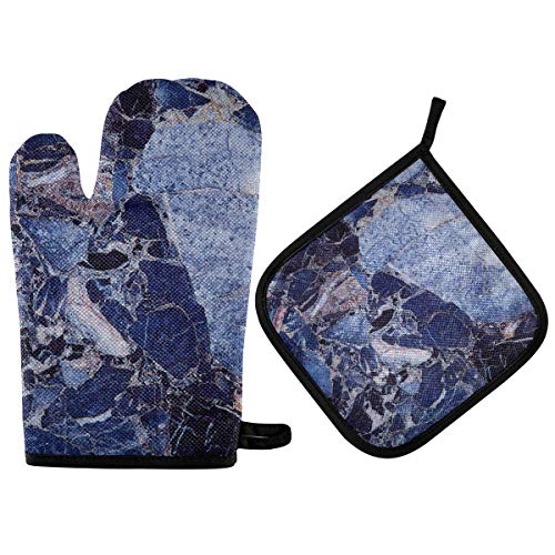 BOOBERT Oven Mitts and Pot Holder Oven Gloves Blue Marble Texture Non-Slip Hot Pads Insulation Gloves Heat Resistant Kitchen Set for Cooking Baking Grilling BBQ
