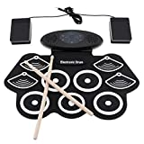 Electronically rolled up silicone drum dual speaker electric drum with drum stick and sustain pedal
