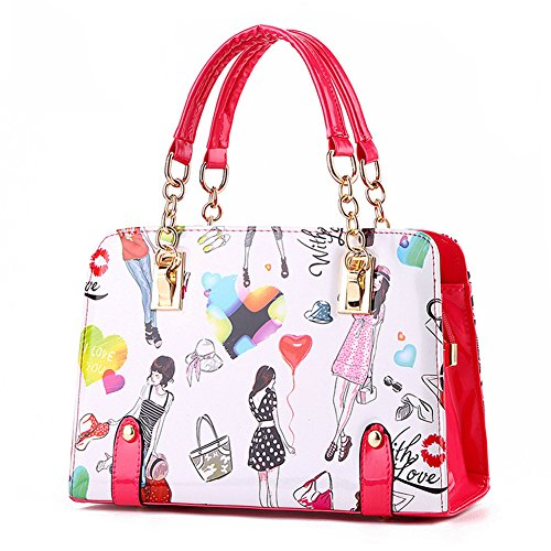 Top Shop Womens Leather Fashion Printing Totes Shoulder Bags Trapeze Handbags Red Hobos Saddle