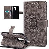 Kompatibel mit Huawei Honor 6X Hülle,Huawei Honor 6X Schutzhülle,Prägung Mandala Blumen Sonnenblume PU Lederhülle Flip Hülle Cover Ständer Etui Wallet Tasche Hülle Schutzhülle für Huawei Honor 6X,Grau