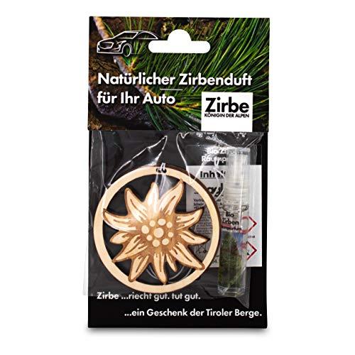 sagl.tirol Natürlicher Autoanhänger aus Zirben Holz inkl. 5ml Zirben Raumparfum Edelweiß