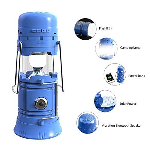 KuWFi Lanterne de camping portable multifonction à LED rechargeable avec haut-parleur Bluetooth 3 modes d'éclairage Idéal pour le camping, les rendez-vous, les fêtes dans le jardin, les urgences (Bleu)