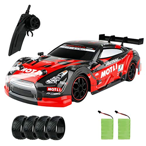GT Drift Car RC Sport Racing Car Hight Speed Drift Vehicle 1/16 RC Car for Adults Kids Gifts, 4WD RTR Vehicle with LED Light, Two Batteries and Drift Tires - Red (Red)