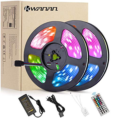 Led Strip Lights,Kwanan 32.8feet(10M) LED Light Strip 300 LEDs SMD 5050 12VDC Waterproof Flexible Light Strips Kit with 44Key Remote Controller and 5A Adapter for TV,Bedroom,Kitchen