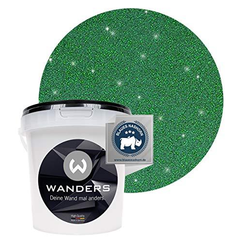 Wanders24® Glimmer-Optik (1 Liter, Gold-Grün) Glitzer Wandfarbe - Wandfarbe Glitzer - abwaschbare Wandfarbe - Glitzerfarbe - Made in Germany