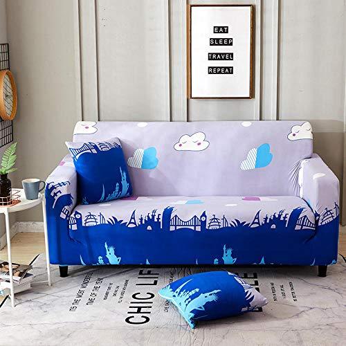 Funda Elástica de Sofá Cubre Antideslizante/Protector Ajustables de Sofá, Decorativas Fundas Dibujos animados azul Impresa -para Sofas, con Cuerda de Fijación (3 Plazas:175-220cm)+1 Fundas de Almohada