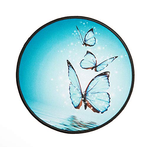 Blue Crystal Butterflies Round Mouse Pad,3D Art Animal Personalized Printed Mouse Mat, Non-Slip Rubber Base Mousepad for Laptop, Computer 7.9x7.9 Inches