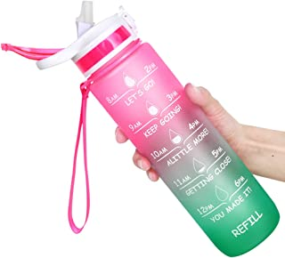 Motivational Water Bottle, 32 oz Water Bottle, Water Jug with Time Maker and Straw