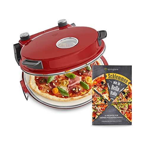 Pizzaofen Peppo 1200W, Pizzamaker, Minibackofen elektrisch für Pizza & Brot 350°C, Timer & Signallampe, inkl. Emaille-Bratpfanne & 2 großen Pizzawendern + Gratis Rezept (PDF) - rot