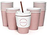 Sweetzer & Orange 12 Oz. Disposable Paper Coffee Cups with Lids (Set of 50) Includes Stir Sticks and Sleeves - Great Checkered Design for Tea, Hot Chocolate, Mochas and Lattes, Too (Red)