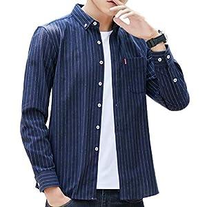 ODFMCE シャツ メンズ 長袖 オシャレ ストライプ ビジネス カジュアル 大きいサイズ (ネイビー, M)