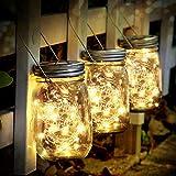 Solarleuchte - SUNNOW 3 Stück Mason Jar Licht 30 LED Wasserdicht Solarlicht Garten Hängeleuchten LED Solarlicht Glasgläser solarlampen außen für Außen Garten Deko,Weihnachtsferien Deko (Warmweiß)