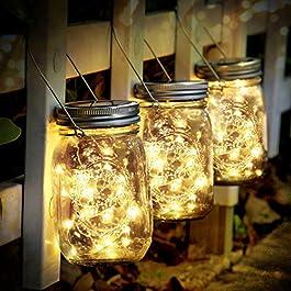 Lumières Solaire Extérieur,3Pièces Lumières de Jardin Solaire 30 LED Imperméable à l'eau Mason Jar Lumières Jardin pour…