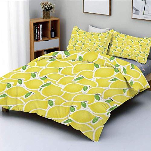 Juego de funda nórdica, ilustración de un montón de imágenes y formas de cítricos de limón Nature Artprint for Living Juego de cama decorativo de 3 piezas con 2 fundas de almohada, verde amari