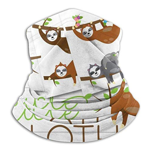 AEMAPE Cute Sloths Unisex Fleece A prueba de viento Calentador de cuello Calentador de cara Tubo de cuello Bufanda de cuello Polainas de cuello Bandana Black-8XJ