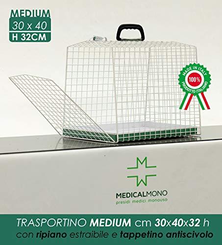 MEDICALMONO Trasportino Piccoli Animali - Gatto, Cane - Gabbia in metallo Alta Qualità Portiera Singola. PRODOTTO IN ITALIA NO CINA. (L 30 x P 40 x H 32 cm)