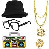 L'imballaggio include: vieni con 5 pezzi di costume Run-DMC, 1 cappelli a secchiello di cotone a ponte, 1 collana di catene in oro con segno del dollaro hip hop, 1 anello in oro con segno del dollaro in stile hip hop, 1 occhiali nerd hip hop rettango...
