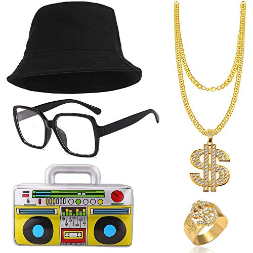 * Best Value* Men's Run DMC 5 Piece 80s Hip Hop Costume Accessory Set with bucket hat, glasses, gold jewellery, boombox