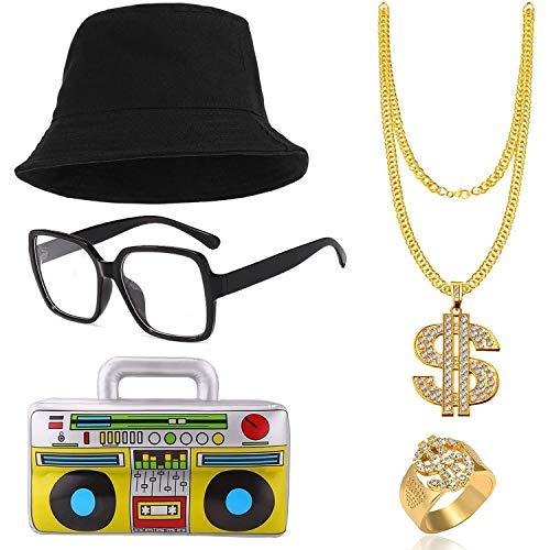 SPECOOL Hip Hop kostuum Kit mannen 80s 90s Rapper voor Accessoires Verjaardag gunsten, emmer hoed gouden dollarteken ketting Ring ketting opblaasbare Boom vak volwassen 80s Party Thema Decor