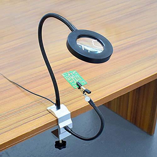 FZYQY Luz LED Iluminación Lupa, 3X Lente Regulable con Clips Ajustables para Costura, Lectura,Modelismo, Soldar y Oficina